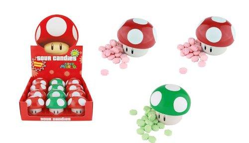 Nintendo Mushroom Sours Candy Tin x 3 (2 X Red Mushroom and 1 X Green - Candy Mushroom Nintendo