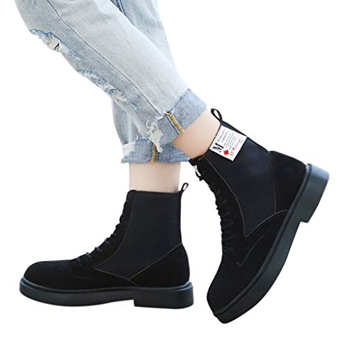 GHrcvdhw Stylish Pure Color Flat Handsome Motorcycle Boots Vintage Boots Zipper Boots Chunky Heels Women Boots - Tray 9.8 Inch