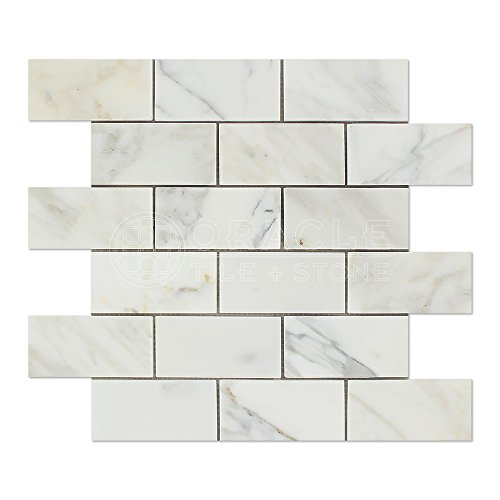 Calacatta Gold (Italian Calcutta) Marble 2 X 4 Brick Mosaic Tile, Honed