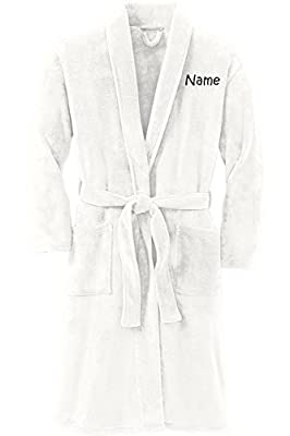 Personalized Plush Microfleece Robe with Embroidered Name, Marshmallow