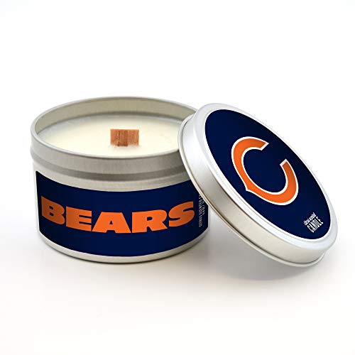 Worthy Promotional NFL Chicago Bears Citrus Scented Wood Wick Candle in Travel Tin with Lid, 5.8-Ounce