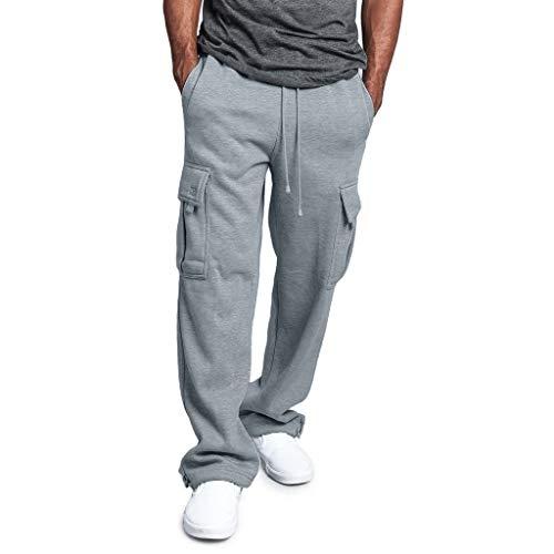 Creazrise Men's Full Elastic Waist Loose Fit Lightweight Workwear Pull On Cargo Pants Gray
