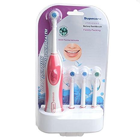 azdent® Cepillo de dientes eléctrico con 4 cabezales de cepillo (Rosa, sin pilas