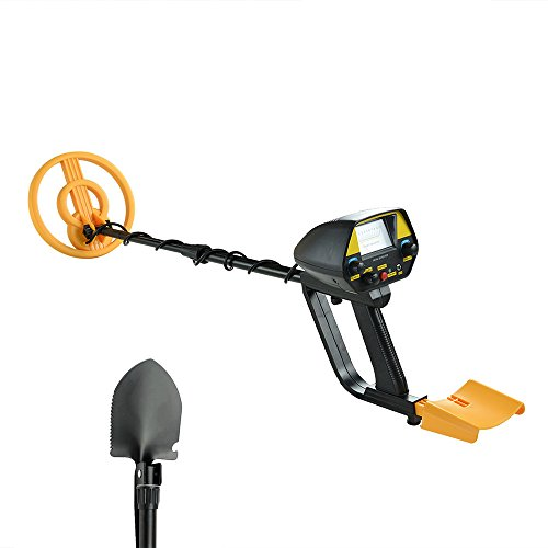 Detector Underground Metal (Metal Detector MD-4080 0pgraded Hobby Metal Detector Underground Treasure Finder(Stretch Length: 16-26Inches)With Shovel (Yellow))