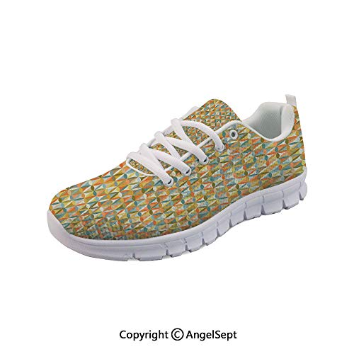Athletic Running Shoes Interlace Inner Rounds Oval Vintage Lightweight Sneakers
