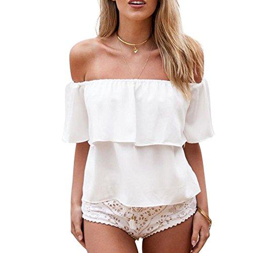 3ae3ce3e304793 Weixinbuy Women Casual Off Shoulder Boho Crop Top White S - Buy Online in  Oman.