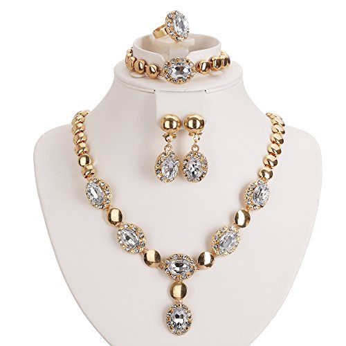 White Zircon Necklace - Moochi Gold Plated White Zircon Stones Embedded Brass Necklace Earrings Jewelry Set
