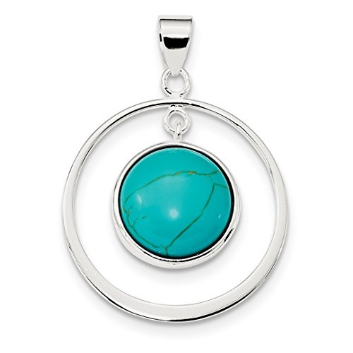 ICE CARATS 925 Sterling Silver Circle Blue Turquoise Pendant Charm Necklace Natural Stone Fine Jewelry Ideal Gifts For Women Gift Set From Heart