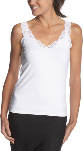 Only Hearts Women's Delicious Deep V-Neck Tank With Lace - 41840L,White,Small