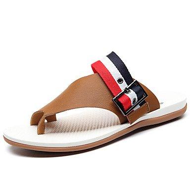 Sandalias de verano zapatos de hombre exterior / oficina / Carrera / Casual Zapatillas de cuero negro / marrón Negro