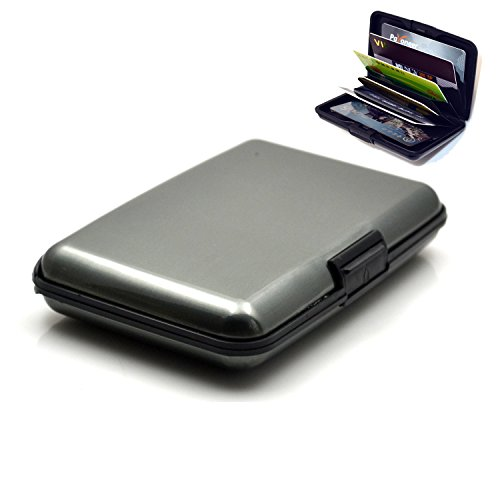 """VONOTO Security Credit card 4.25""""x3""""x0.75"""" Aluminum Wallet Credit Card Holder With RFID Protection Made By woCharger Brands for credit cards ,id,Cash,Bank card,Business cards holder (Metal Grey)"""