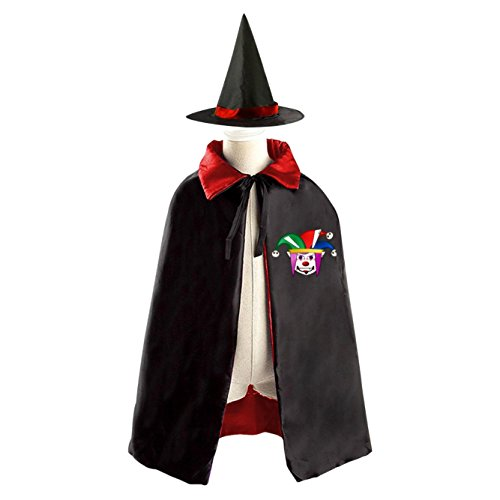 Evil Cartoon Clown Halloween Costume Witch Wizard Cloak Dress Suit Cape Hat (Homemade Girl Clown Costume)