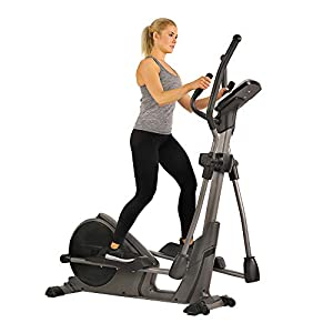 Sunny Health & Fitness Magnetic Elliptical Trainer Machine w/Device Holder, Programmable Monitor and Heart Rate Monitoring, 330 LB Max Weight – SF-E3912, Silver