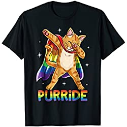Dabbing Purride Cat Gay Pride LGBT Rainbow Flag T shirt Dab