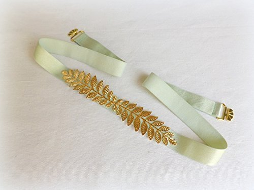 Mint Green Grecian leaf belt. Elastic waist belt. Mint green dress belt. Bridal/ bridesmaid wedding belt. Greek style belt.