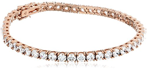 Rose Gold Plated Sterling Silver Tennis Bracelet set with Round Cut Swarovski Zirconia (16.77 cttw), 7.25