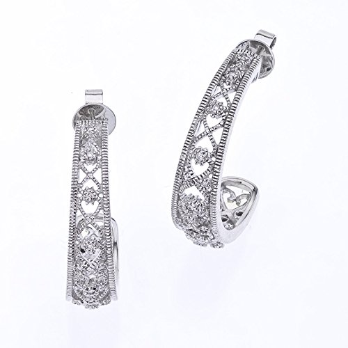 Diamond Half Hoops with Filigree in Sterling Silver (0.25 carats, H-I I2)