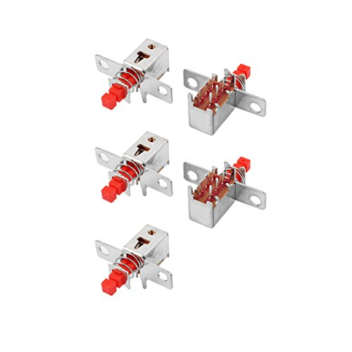 uxcell 5 Pcs Red 6 Terminal Latching DPDT Mini Micro Push Button Switch for Housing Appliance -