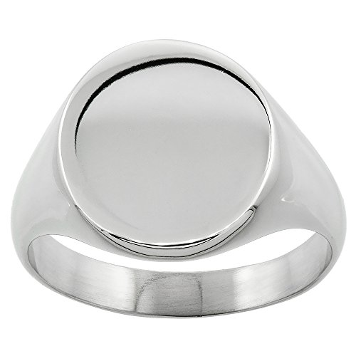 Surgical Stainless Steel Oval Signet Ring Solid Back Flawless Finish 5/8 inch, Size 8.5