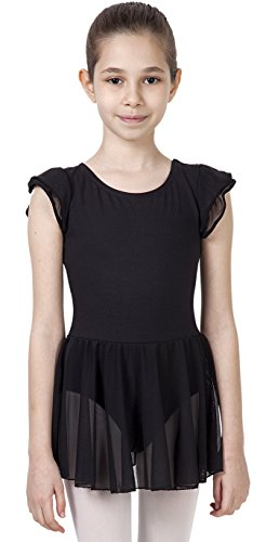 CAOMP Girls Flutter Sleeve Skirted Ballet Leotard Organic Cotton Spandex Dance Gymnastics