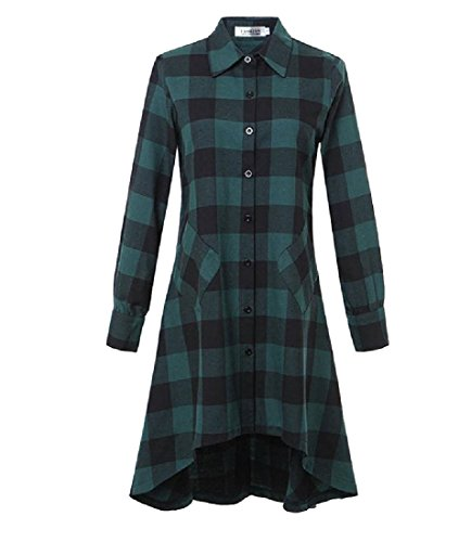 Party Lapel Green Dress Plaid Comfy Irregular Length Women Stitching Baggy Mid Eg8xxqfvnF
