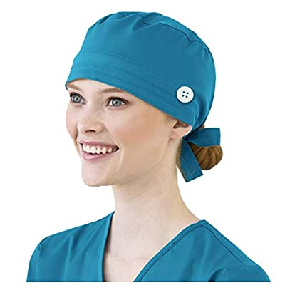 Ghazzi Unisex Scrub Cap Cotton Bandage Button Adjustable Nursing Scrub Cap Beauty Work Hat Surgical Bouffant Dustproof Blue at  Women's Clothing store