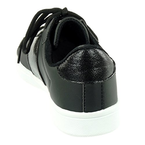 Noir Cm Angkorly Chaussures 5 Brillant Femmes Talon Mode 2 Formateurs Plat Des Tennis wwFS7qp