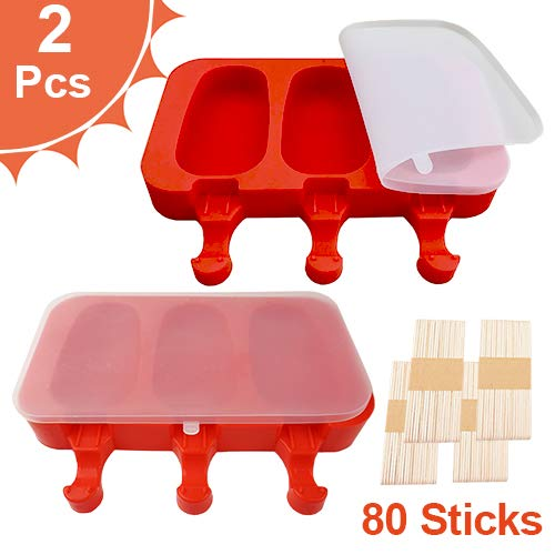 Silicone Popsicle Molds BPA-Free, Ice Pop Molds with Lids, Packs of 2 x 3 Cavities for Kids, Cake or Ice Cream or Popsicle Maker, Easy Release, Bonus 80 Popsicle Sticks by MoHern (Red)