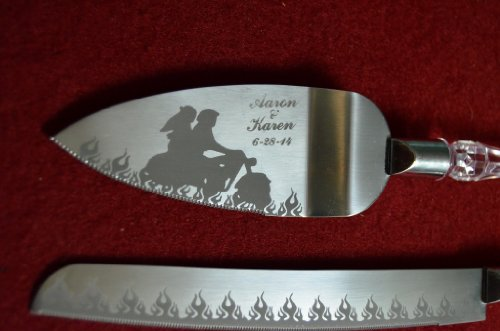 motorcycle wedding cake knife flaming motorcycle biker engraved wedding cake knife 17611