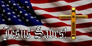 Jesus Saves On American Flag With Gold Cross Photo License Plate ()