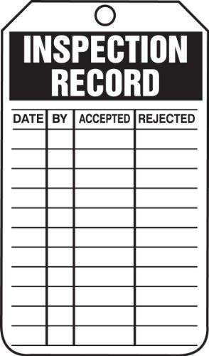 Warning Label Records (Accuform Signs TRS249CTP Inspection Record Tag, Legend