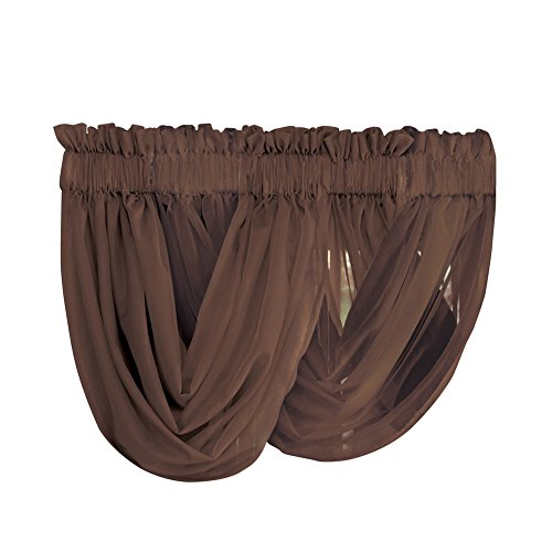 Collections Etc Scoop Two-Piece Rod Pocket Solid-Colored Sheer Valances for Windows, Decorative Accent and Added Privacy for Any Room in Home, Chocolate