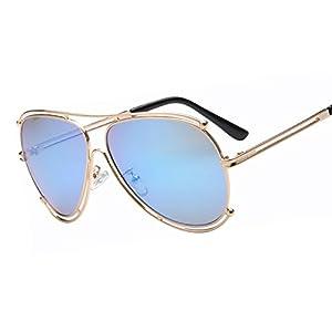 Classic Vintage Metal Oval Large Frame Sunglasses 1619 New Color Film Ink Glasses,4