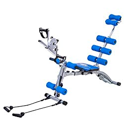 Goplus 6 in 1 Multi-functional Twister AB Rocket Trainer Abdominal Core Exerciser Adjustable Incline Decline Bench Stepper