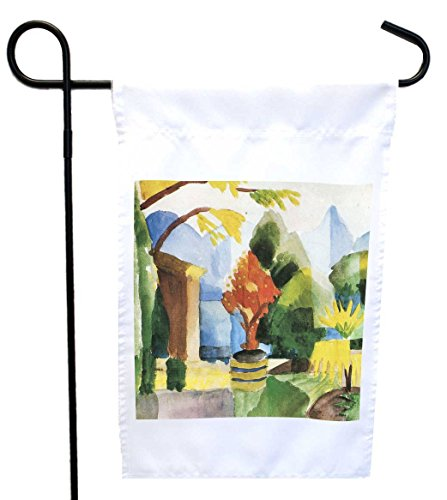 Rikki Knight August Macke Art Garden in Hilterfingen House or Garden Flag with 11 x 11-Inch Image, 12 x 18-Inch (Macke Garden)