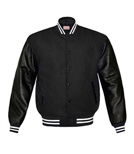 luvsecretlingerie Superb Genuine Leather Sleeve Letterman College Varsity Women Wool Jackets ()