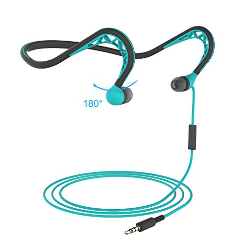 MUCRO Wired Neckband Running Sports Headphones with Microphone, Stereo Sound & Noise Cancelling In-Ear Headphones for IOS Android ipod and PC, Blue