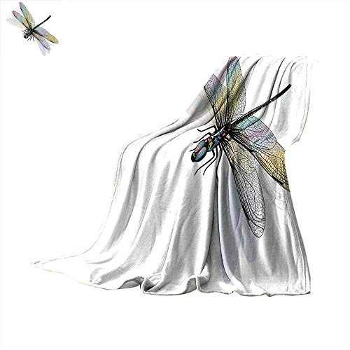 (Dragonfly Thicken Blanket Shady Dragonfly Pattern with Ornate Lace Style Spiritual Beauty Wings Design Digital Printing Blanket 62 x 60 inch Multicolor)