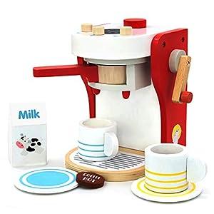 yoptote Macchina Caffe Legno Accessori Cucina Giocattolo Caffettiera Set Caffe da Cucina Gioco Ruolo Giocattoli per Bambini 3 4 5 Anni