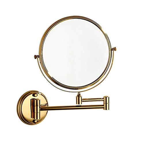 8-Inch Wall Mount Brass Material Makeup Mirror with 3x Magnification -