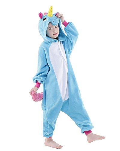 [Bettertime Child Unisex Pajamas Christmas Kids Animal Costume Cosplay Sleepwear (S, Blue Unicorn)] (Unicorn Costume Baby)