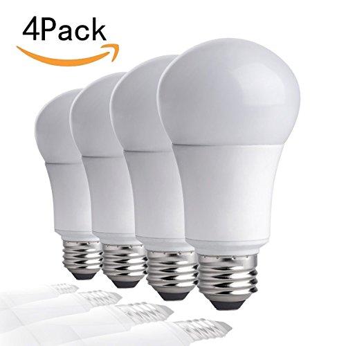 CTKcom A19 LED Bulbs 5W(4 Pack)- 60 Watt Equivalent 6500K Daylight White LED Light Bulbs E26/E27 Base,270 Degree Beam Angle,UL Listed,For Home Dining Room Bedroom Living Room,Pack of 4