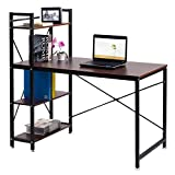 Cheap TANGKULA Computer Desk Modern Style Writing Study Table with 4 Tier Bookshelves Home Office Compact Multipurpose Workstation(Brown)