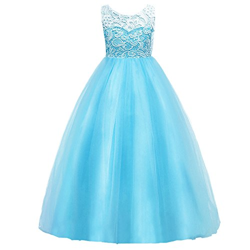 HUANQIUE Girls Lace Wedding Party Dress Bridesmaid Flower Girl Maxi Dresses Light Blue 9-10 Years