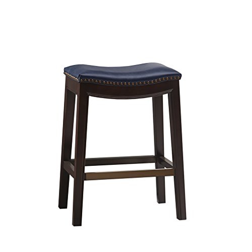 Madison Park FUR101-0039 Belfast Hardwood, Fabric Kitchen Black, Classic Style Height Stools-Silver Nail Head Bar Furniture for Home, Navy ()