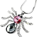 Female Charm Accessories Spider Inlaid Crystal Pendant Chain White Gold Plated Long sweater Necklace
