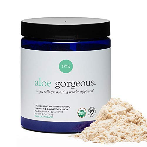 Ora Organic Vegan Collagen-Boosting Powder for Women and Men - Hair, Skin, & Nails Support - Bamboo Silica, Plant-Based Protein, Organic Vitamin C, Aloe Vera - Vanilla Flavor, 20 Servings…