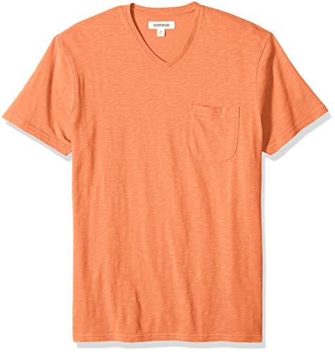 (Goodthreads Men's Lightweight Slub V-Neck Pocket T-Shirt, -rust, Medium)