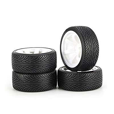 Liobaba for AUSTAR AX 4pcs 64mm Hard Plastic Rim Tyre Tire Wheel for 1/10 RC Drift Car Model HSP HPI Component Spare Parts Accessories: Garden & Outdoor