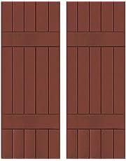 "Ekena Millwork RWB18X066RWW Exterior Five Board Real Wood Western Red Cedar Board-n-Batten Shutters (Per Pair), 18"" x 66"", Country Redwood"
